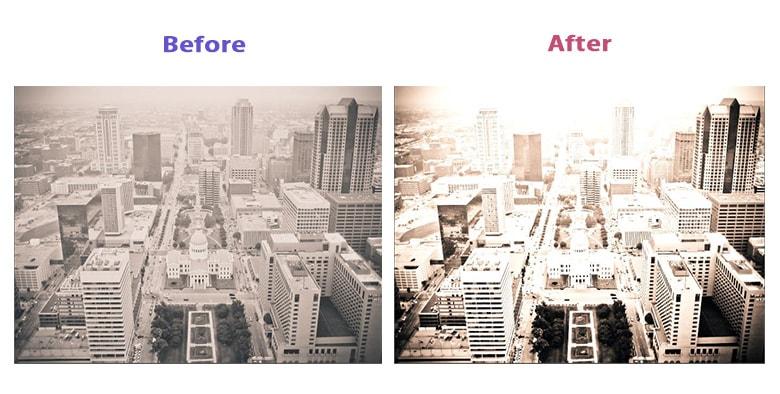 トーンカーブで補正しが画像の前後比較