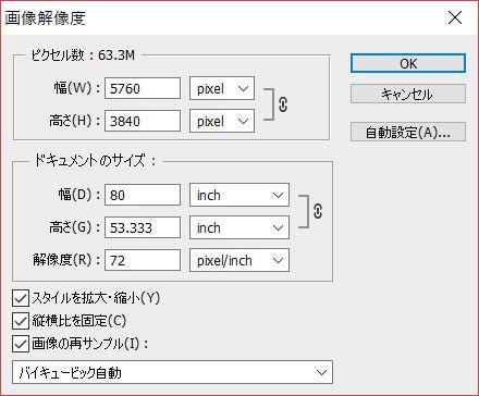 画像解像度のダイアログボックスを確認