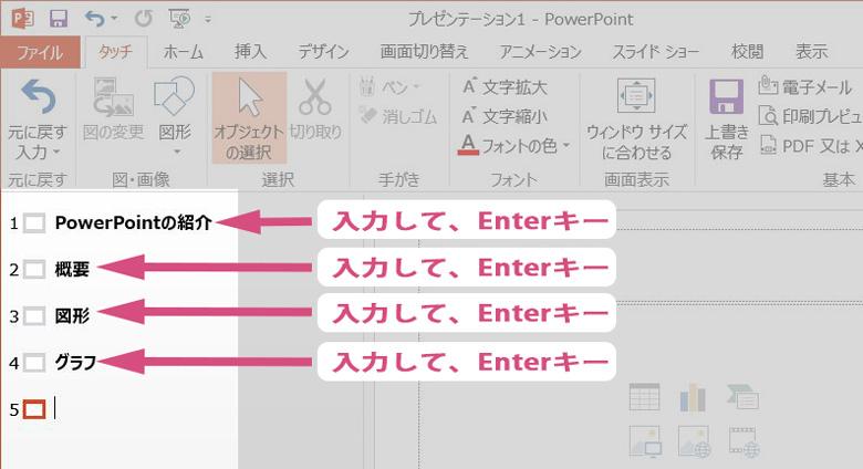 powerpointでアウトライン表示にてタイトル追加画像