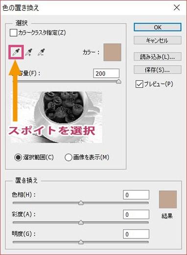 色の置き換えダイアログでスポイトを選択