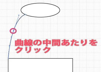 曲線の中央にアンカーポイントを追加する