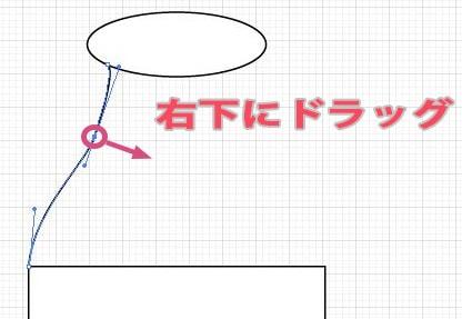 ダイレクト選択ツールでアンカーポイントを右下にドラッグ