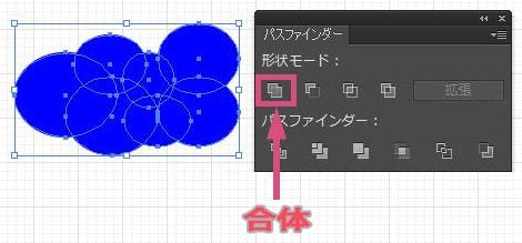 楕円形をパスファインダーで合体