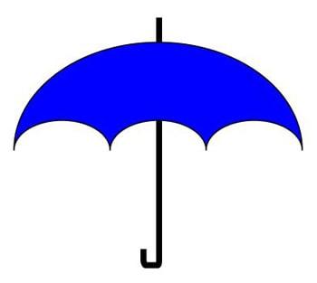重ね順を調整して傘の図形を作成