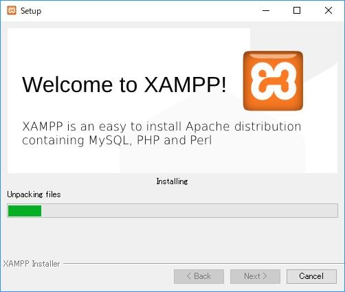 XAMPP unpacking files, installing
