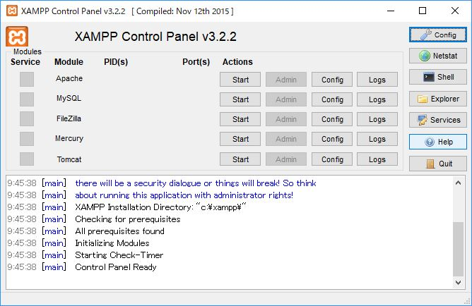 XAMPP control panel を開く