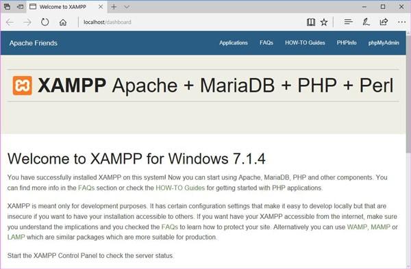 XAMPPのdashboard