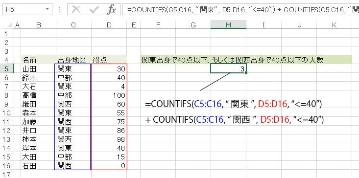 OR条件のCOUNTIFS