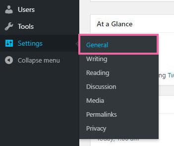 WordPress管理者ページの一般設定