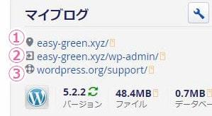 サイトリンク、管理者ページリンク、サポートリンク